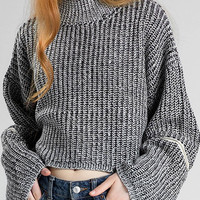 Grey Knitted Jumper with Zipper Details