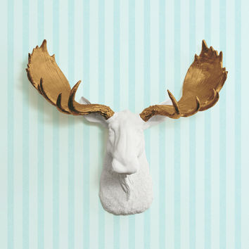 The Alberta white Faux Moose Head