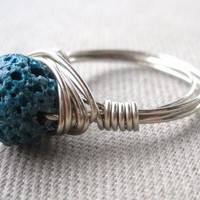 Lava Wrapped Silver Wire Ring Size 6