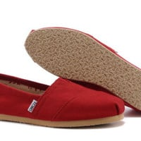 Authentic TOMS Red Canvas Women's Classics Shoes