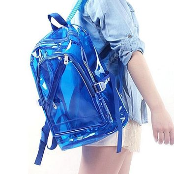 2017 beach bag transparent clear plastic waterproof backpack for teenage girls pvc school bags shoulders bag df323