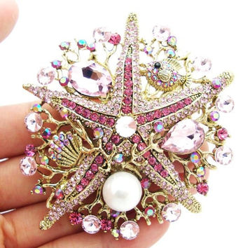 Authentic Lenora CZ Rhinestone Crystal Encrusted Handmade Dusty Rose Starfish Decorative Collector's Bouquet Brooch - Free Shipping