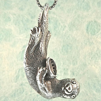 Sea Otter Necklace Sea Otter Pendant Sea Otter Charm - Sea Otter Jewelry - Ocean Jewelry - Silver Otter - Marine Animal - Abalone Necklace
