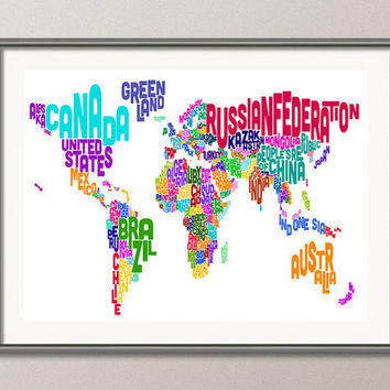 Typographic Text Map of the World Map Art Print