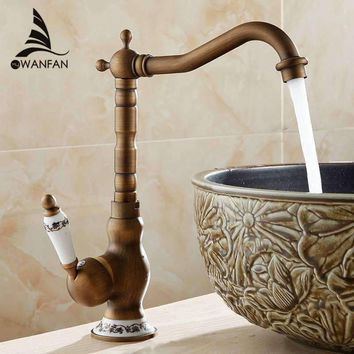 New Arrive Deck Mounted Single Handle 360 Degree Swivel Bathroom Sink Mixer Faucet Antique Brass Hot and Cold Water AL-9210