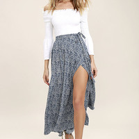 Beautiful Tempest Navy Blue Print Wrap Maxi Skirt