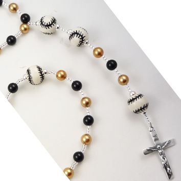 Gold & Black Baseball First Communion Rosary- Choose Pearl Colors
