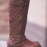 Riverstone Quilted Tall Studded Boots-Brown
