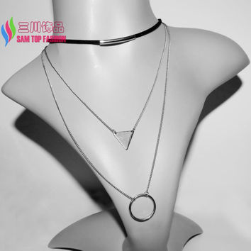 2016 new arrival Leather Necklaces women's Fashion Trendy Bold Multi-Layers Circles Triangles False Collar Pendants Necklaces