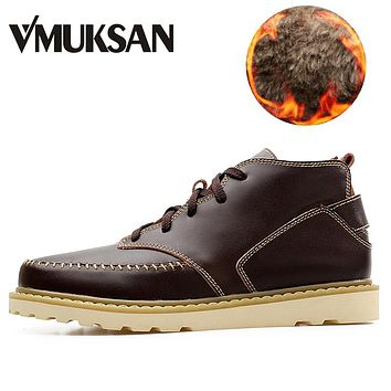 Warm Furry Winter Boots Men Leather Men Boots Outside Lace Up Work Shoes For Man