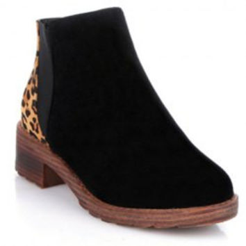 Stylish Women's Ankle Boots With Suede and Leopard Print Design