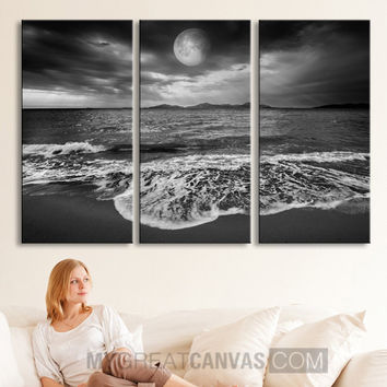 Large Wall Art Canvas Sea Landscape With Moon Canvas Print Framed 3 Panel Canvas