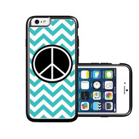 RCGrafix Brand Peace teal Chevron black iPhone 6 Case - Fits NEW Apple iPhone 6