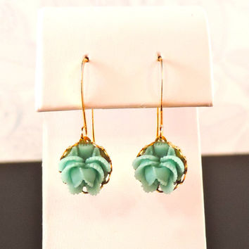 Blue-Green Ruffled Rose Flower Earrings - Gold Plated Setting and Earring Wire - Bride, Bridesmaids, Birthday, Christmas Gifts