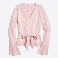 Bell-sleeve wrap sweater