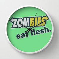 Zombie Eat flesh Wall Clock by Wood-n-Images