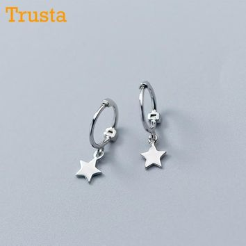 Trusta 2018 100% 925 Solid Sterling Silver Star Small Stud Earr 3e1ffda9d2d7