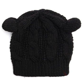 Cute Cat Ear Devil Slouch Beanie Hat Crochet Knitted  Braided Winter Warm Cap