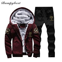 Winter Men Warm Set Fleece Track suits for Men Tracksuit Clothing Hombre Running Men Suits Male Clothing
