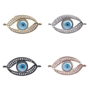 1pc 26*13mm Fashion Cubic Zirconia Shell Evil Eye Charms Connectors Jewelry Accessories For Women Diy Evil Eye Bracelet & Bangle