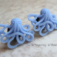 Octopus Plugs for Gauged Ears Blue Aqua by TheWhisperingWillows