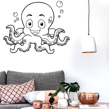 Wall Stickers Vinyl Decal Smiling Octopus Funny For Kids Nursery Room (z1897)