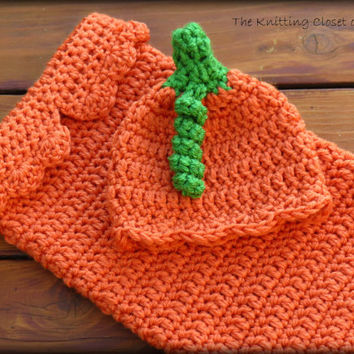 Crochet  Baby Pumpkin Cocoon Pattern and Hat Pattern  - Pumpkin Baby