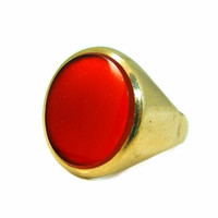 9kt Gold Carnelian Signet Ring Antique Estate Jewelry 19th Century