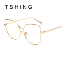 TSHING Fashion Cat Eye Optical Eye Glasses Women Men Clear Lenses Metal Glasses Frame Retro For Female Male