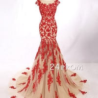 Amazing Red lace tulle mermaid long prom dresses, wedding dress