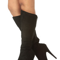 Black Faux Suede Knee High Laser Cut Platform Boots