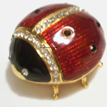 Ladybug Jewelry Holder, Trinket Holder, Gold, Enamel, Rhinestones, Matching Set, Insect, Bug, Necklace