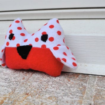 Owl Plush Red and White Tito by RopeSwingStudio on Etsy