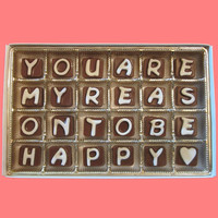 Valentines Day Gift for Men Women You Are My Reason To Be Happy Cubic Chocolate Letters Long Distance Luxury AnniversaryAPO Canada Shipping