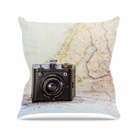 "Debbra Obertanec ""Travel Time"" Black Beige Throw Pillow"