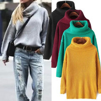 Plain Turtleneck Sweater for Women
