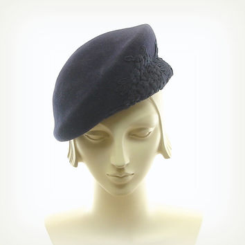 Blue Beret Hat for Women 1940s Fashion Hat by TheMillineryShop