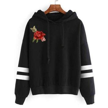 LMFMS9 Embroidery Blouse Hot Sale Womens Applique Long Sleeve Hoodie Jumper Hooded Sweatshirt Pullover Autumn Tops Cotton Blusas