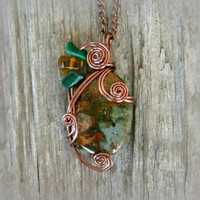 Copper Green Opal Wire Wrapped Pendant Necklace