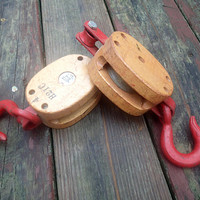 Vintage  Pulley Crosby Western 4 H21C  wood block, iron hook and pulley set of 2, Industrial, Nautical, Farmhouse, Barn decor