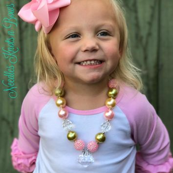Girls Pink and Gold Chunky Bead Bubblegum Necklace w/ Clear Pendant, Girls Jewelry, Flower Girls Necklace