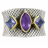 Amethyst & Iolite Sterling Silver Two Tone Band Ring