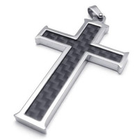 "24"" KONOV Carbon Fiber Stainless Steel Mens Cross Necklace Pendant, Black Silver, 24 inch Chain"