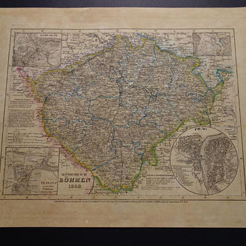 CZECH Republic map CZECHIA 1849 hand-colored old print poster of Kingdom Bohemia Prague Marienbad Teplice Carlsbad vintage maps 24x30c 9x12""