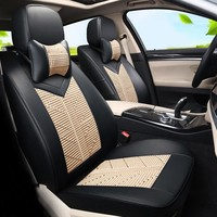 Ice Silk Seat Covers Custom fit for TOYOTA Estima Car Seat Cover Set Luxury Cover Car Seats Cushion Supports Airbags Compatible