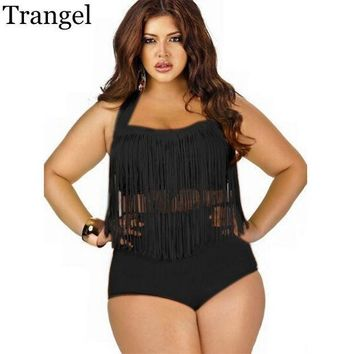 CREYON5U Trangel Plus Size 4XL Bikini Vintage Long-line Tassel Fringe Women Female High Waist Swimsuit Wear Push up Bikini Bathing Suits