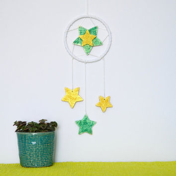 Boy Star Nursery Wall Hanging, Reach for the Stars Wall Decor, Baby Boy, Baby Shower Gift, Modern Nursery Decor, Dreamcatcher Nursery Mobile