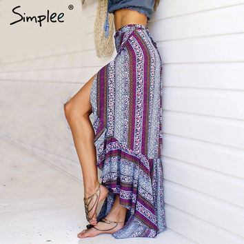 Vintage boho print split long skirt Summer 2017 soft cotton high waist mermaid skirt Women beach loose wrap maxi skirt