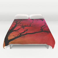 Fire sky Duvet Cover by Haroulita