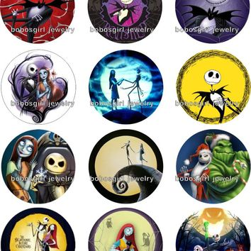 The Nightmare Before Christmas glass snap button photo  Round cabochon flat back  Gl292